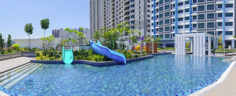 Landscaping and swimming pool