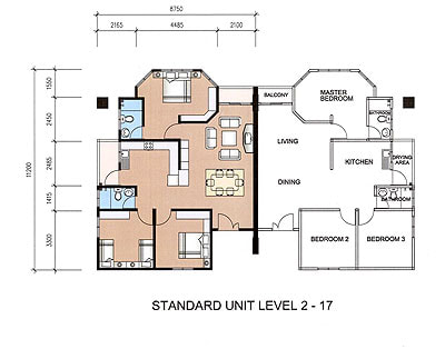 Standard unit floor plan and layout