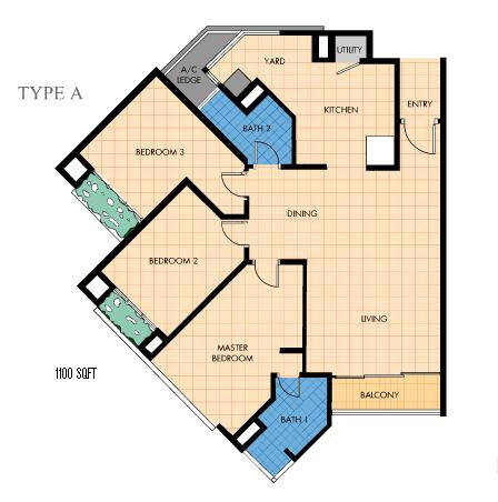 Type A floor plan and unit layout