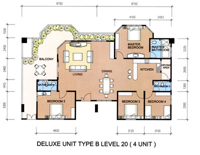 Type B floor plan and layout